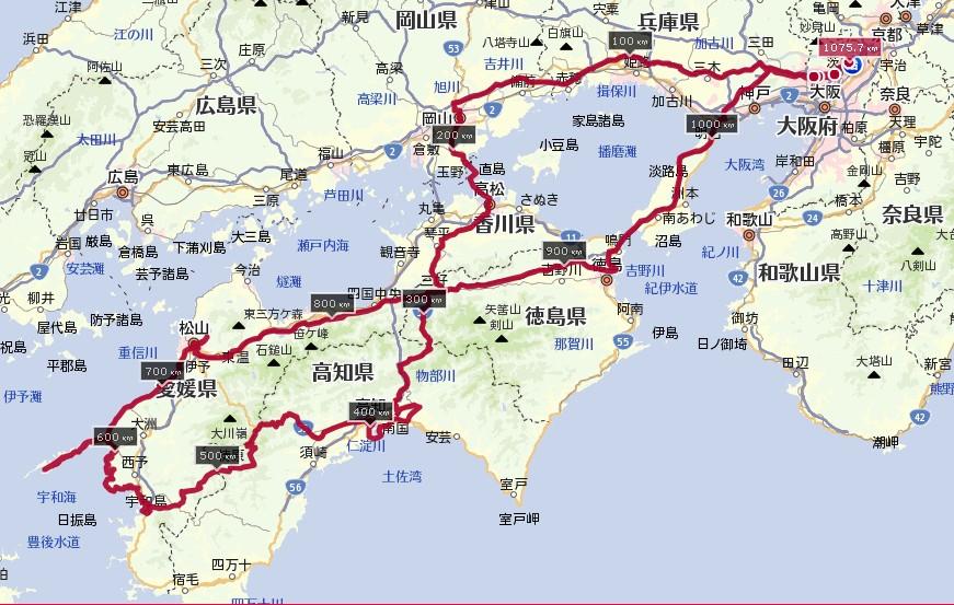 四国ツーリングの地図、ルート